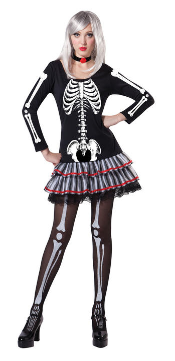 Womens Halloween Skeleton Maiden Costume Ladies Horror Fancy Dress Outfit Thumbnail 1