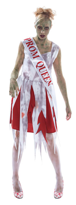 Womens Halloween Prom Queen Costume Ladies Horror Fancy Dress Outfit Thumbnail 1