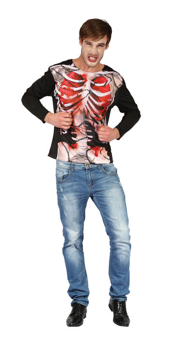 Mens Halloween Chained Skeleton 3D Printed Shirt Gents Fancy Dress Thumbnail 1