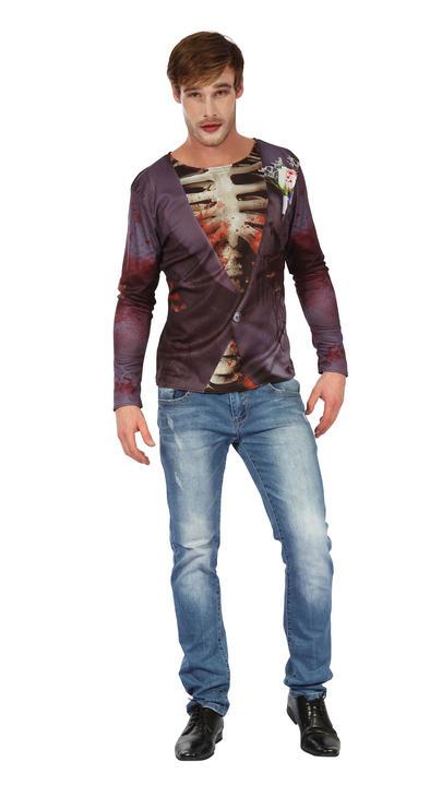 Mens Halloween Zombie Bridegroom 3D Printed Shirt Gents Fancy Dress Thumbnail 1