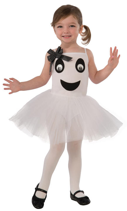 Bootiful Ballerina (Ghost) Toddler Girl's Fancy Dress Costume Thumbnail 1