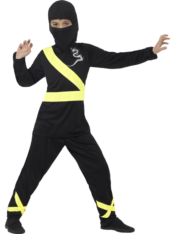 Boy's Black  Ninja Assassin Fancy Dress Costume