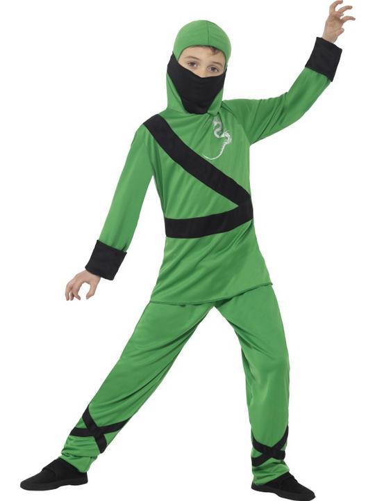 Boy's Green Ninja Assassin Fancy Dress Costume Thumbnail 1