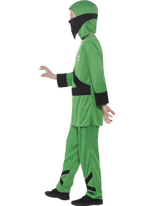Boy's Green Ninja Assassin Fancy Dress Costume Thumbnail 2