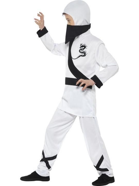 Boy's White Ninja Assassin Fancy Dress Costume Thumbnail 3