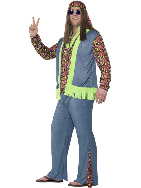 Men's Curves Hippie Fancy Dress Costume Thumbnail 2