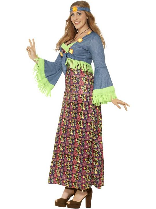 Women's Curves Hippie Lady Fancy Dress Costume Thumbnail 2