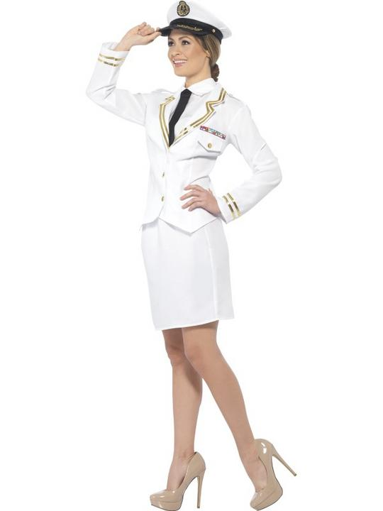 Women's Naval Officer Fancy Dress Costume Thumbnail 2