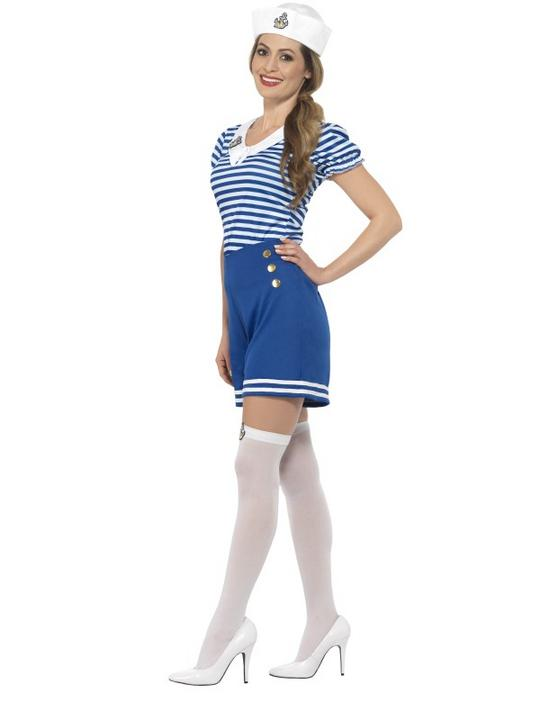 Women's Sailor Girl Fancy Dress Costume Thumbnail 2