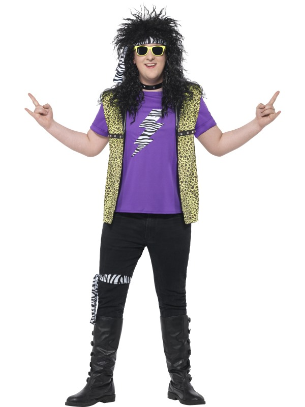 Men's Curves 80's Rock Star Costume Fancy Dress Costume