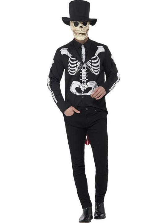 Men's Day of the Dead Se±or Skeleton Fancy Dress Costume Thumbnail 1