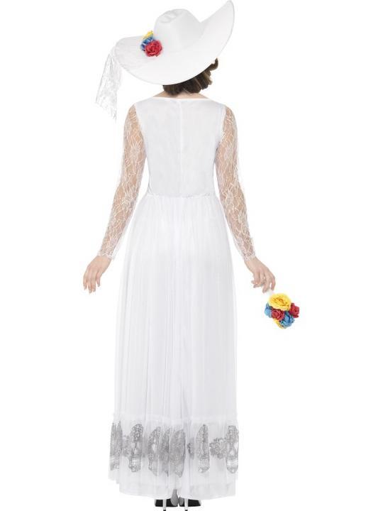 Women's Day of the Dead Skeleton Bride Fancy Dress Costume Thumbnail 2