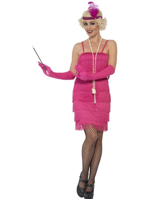 Women's Pink Flapper Fancy Dress Costume