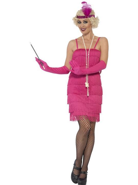 Women's Pink Flapper Fancy Dress Costume Thumbnail 1