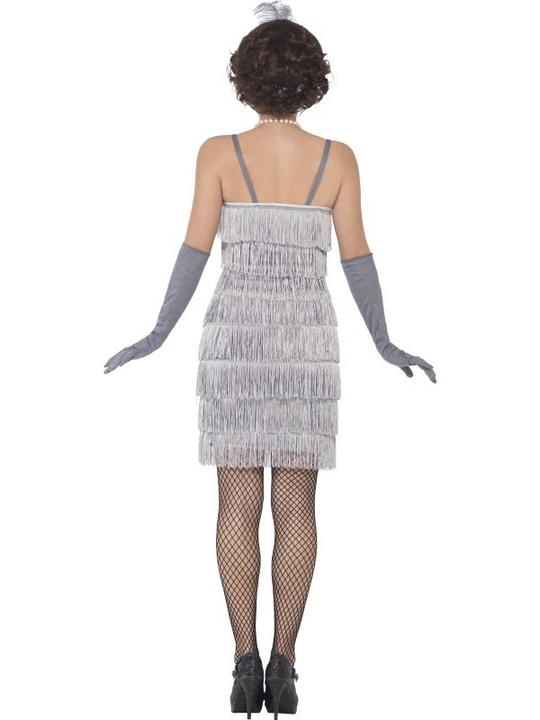Women's Silver Flapper Fancy Dress Costume Thumbnail 2