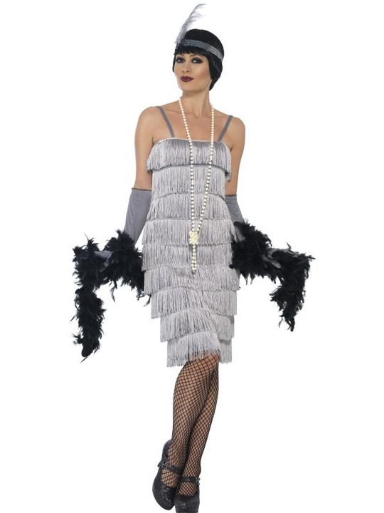 Women's Silver Flapper Longer Length Fancy Dress Costume Thumbnail 1