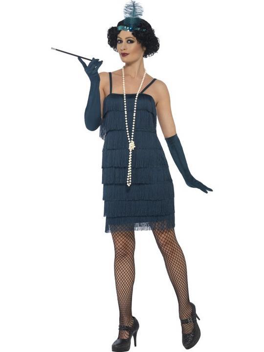 Women's Teal Green Flapper Fancy Dress Costume Thumbnail 1