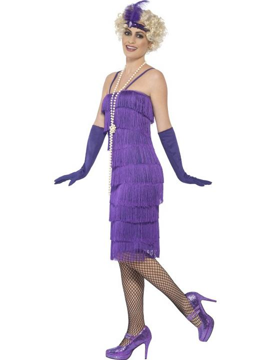 Women's Purple Longer Length Flapper Fancy Dress Costume Thumbnail 2