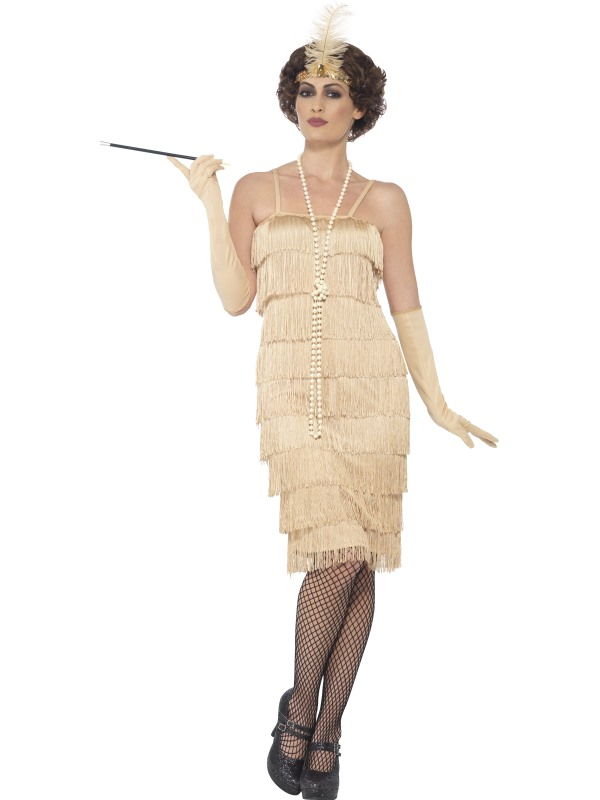 Women's Gold Longer Length Flapper Fancy Dress Costume