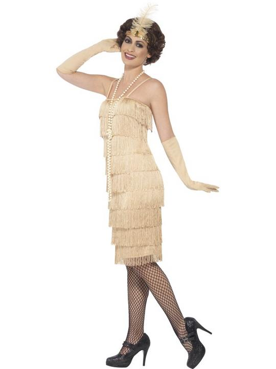 Women's Gold Longer Length Flapper Fancy Dress Costume Thumbnail 3