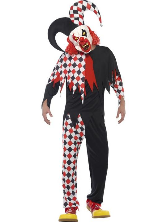 Men's Crazed Jester Fancy Dress Costume Thumbnail 1