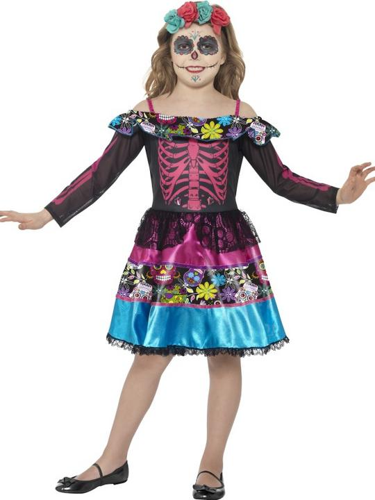Girl's Day of the Dead Sweetheart Fancy Dress Costume Thumbnail 1