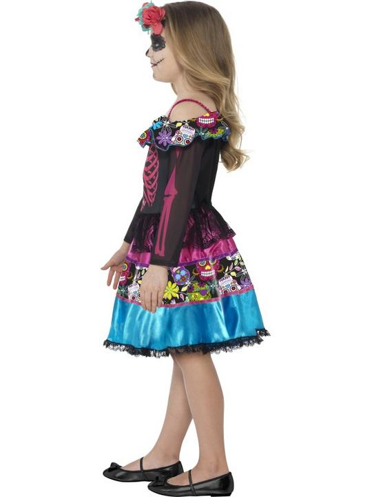 Girl's Day of the Dead Sweetheart Fancy Dress Costume Thumbnail 3
