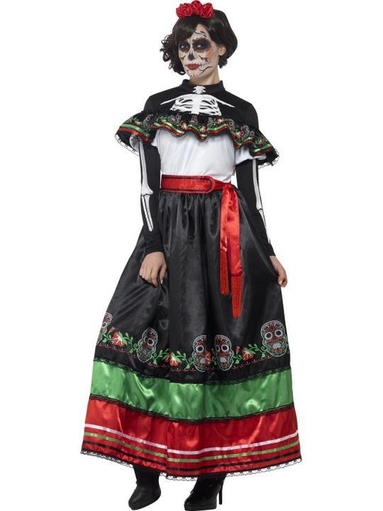Women's Day of the Dead Senorita Fancy Dress Costume Thumbnail 1
