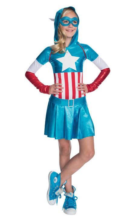 Girl's Captain America Hoodie Fancy Dress Costume Thumbnail 1