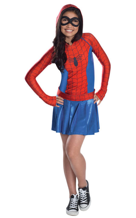 Girl's Spider-Girl Hoodie Fancy Dress Costume Thumbnail 1