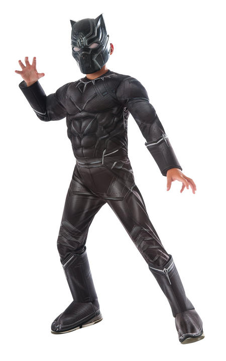 Boy's Deluxe Black Panther Fancy Dress Costume Thumbnail 1
