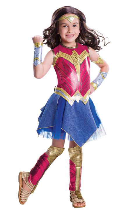 Girl's Deluxe Wonder Woman Fancy Dress Costume Thumbnail 1