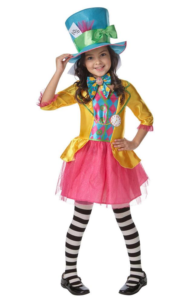 Girls Mad Hatter Alice in Wonderland Book Week Costume Kids Fancy Dress Outfit