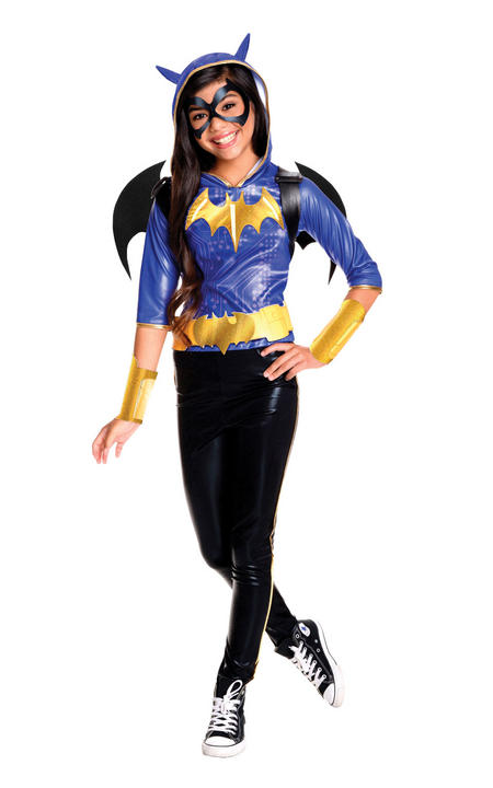 Girl's Deluxe DC Superhero Batgirl Fancy Dress Costume Thumbnail 1