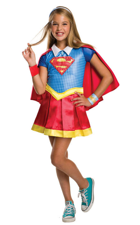 Girl's Deluxe DC Superhero Supergirl Fancy Dress Costume Thumbnail 1