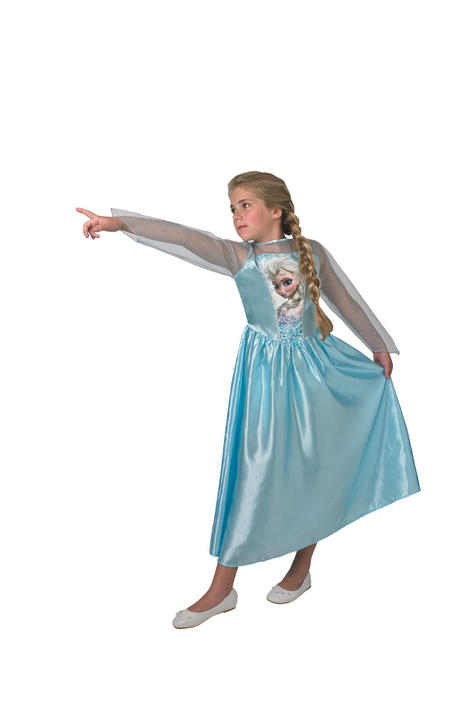 Classic Elsa Disney Frozen Girl's Fancy Dress Costume Thumbnail 1