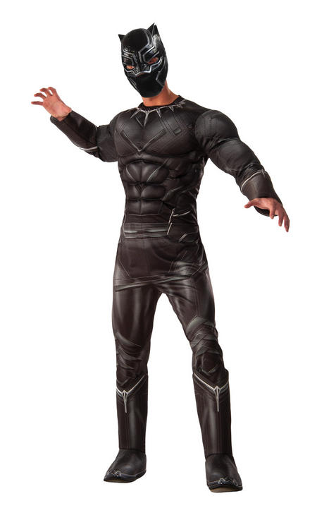 Men's Deluxe Black Panther Fancy Dress Costume Thumbnail 1