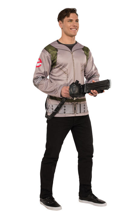 Men's Ghostbuster Shirt Fancy Dress Costume Thumbnail 1