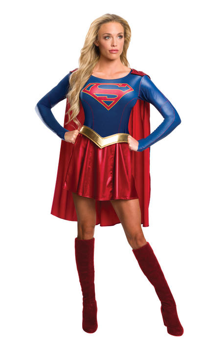 Womens Licensed TV Series Supergirl Costume Ladies Fancy Dress Outfit Thumbnail 1
