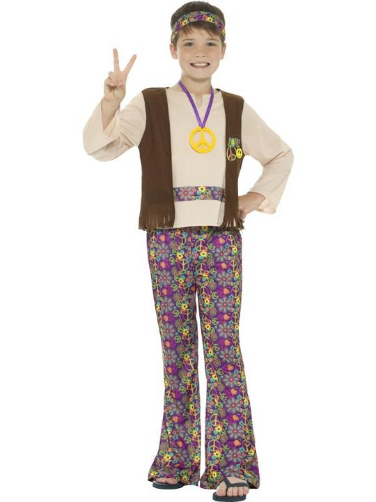 Boys Hippy 1970 costume fancy Dress Outfit Thumbnail 1