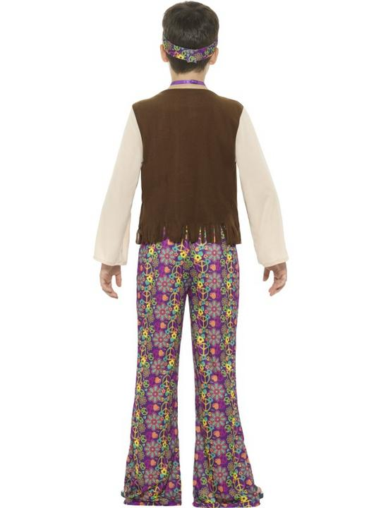 Boys Hippy 1970 costume fancy Dress Outfit Thumbnail 2