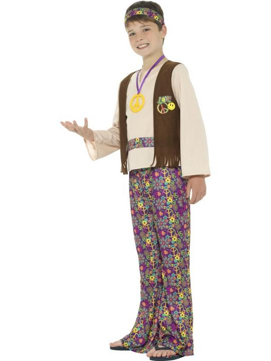 Boys Hippy 1970 costume fancy Dress Outfit Thumbnail 3