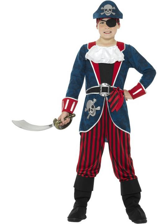 Boy's Deluxe Pirate Captain Fancy Dress Costume Thumbnail 1