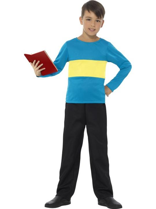 Boy's Jumper Blue with Yellow Stripe Fancy Dress Costume Thumbnail 1