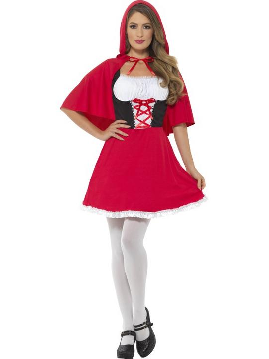 Red Riding Hood Womens Costume Ladies Fancy Dress Outfit Fairytale Story Book Thumbnail 1