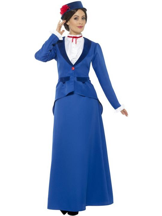 Victorian Nanny Women's  Costume Ladies Fancy Dress outfit mary Poppins Story Thumbnail 1