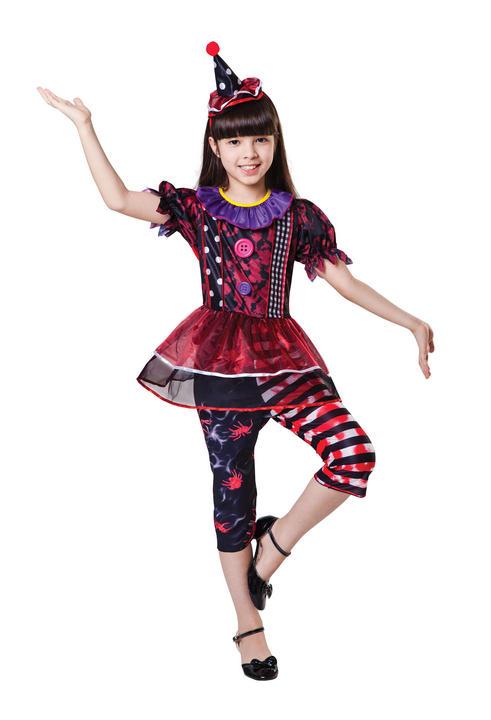 Girl's Halloween Clown Fancy Dress Costume Thumbnail 1