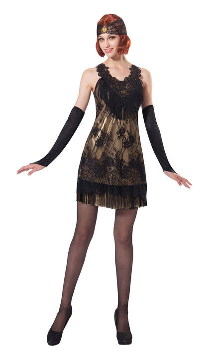 Women's Flapper Black/Gold Lace Fancy Dress Costume Thumbnail 1
