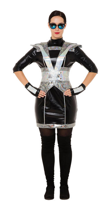 Ladies Black Futuristic Lady Fancy Dress Costume Thumbnail 1