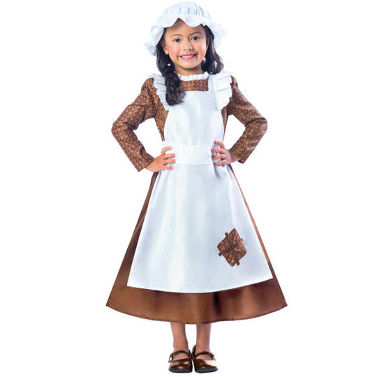 Girls Victorian costume kids school book week fancy dress party outfit Thumbnail 1